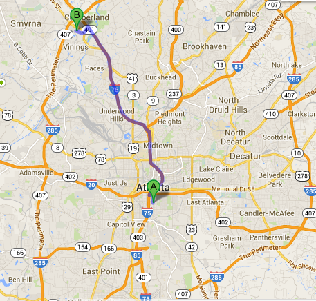 Turner Field to Cumberland Mall   Google Maps