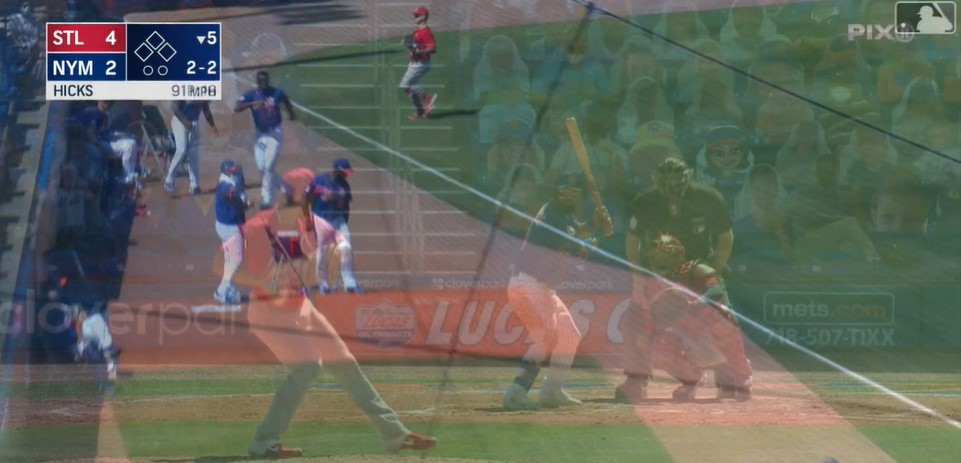 A foul ball from Luis Guillorme blurs into footage of his next plate appearance.